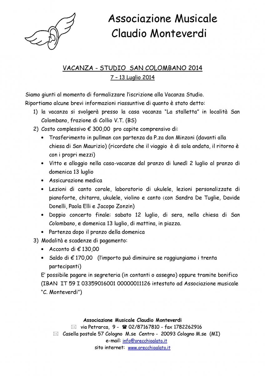 Vacanza studio SAN COLOMBANO 2014 - avviso di apertura  1