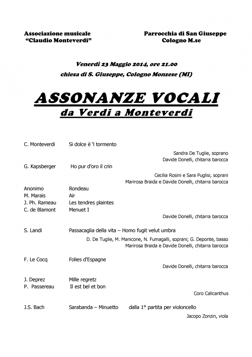 programma di sala - Assonanze vocali  San giuseppe 23 mag 2014 - 2