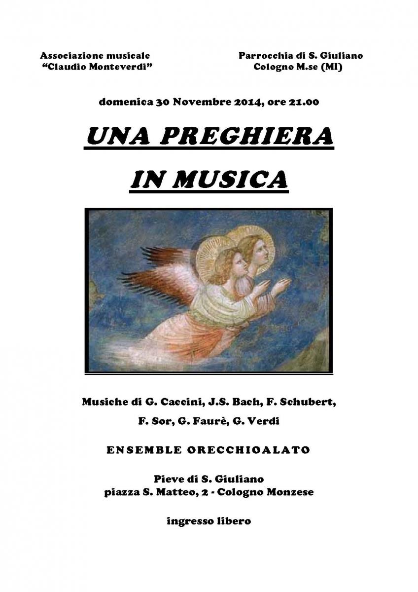 locandina - Una preghiera in musica 30 nov 2014 san giuliano