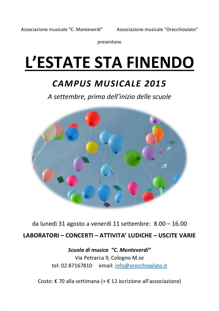 CAMPUS MUSICALE L'ESTATE STA FINENDO 2015 locandina-001