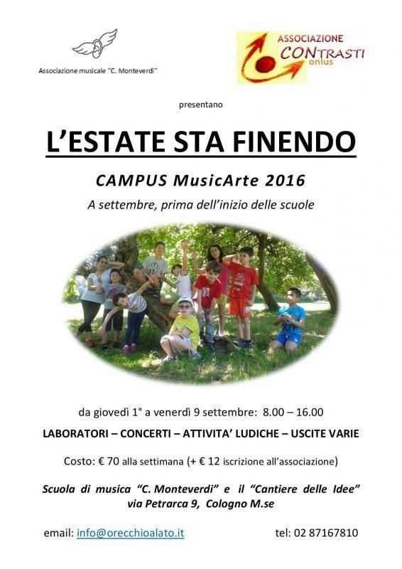 CAMPUS MusicArte LE L'ESTATE STA FINENDO 2016 locandina-001
